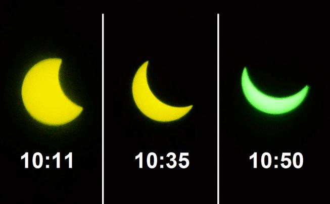 Fazy zaćmienia słońca do momentu kulminacji (kliknij, aby powiększyć)