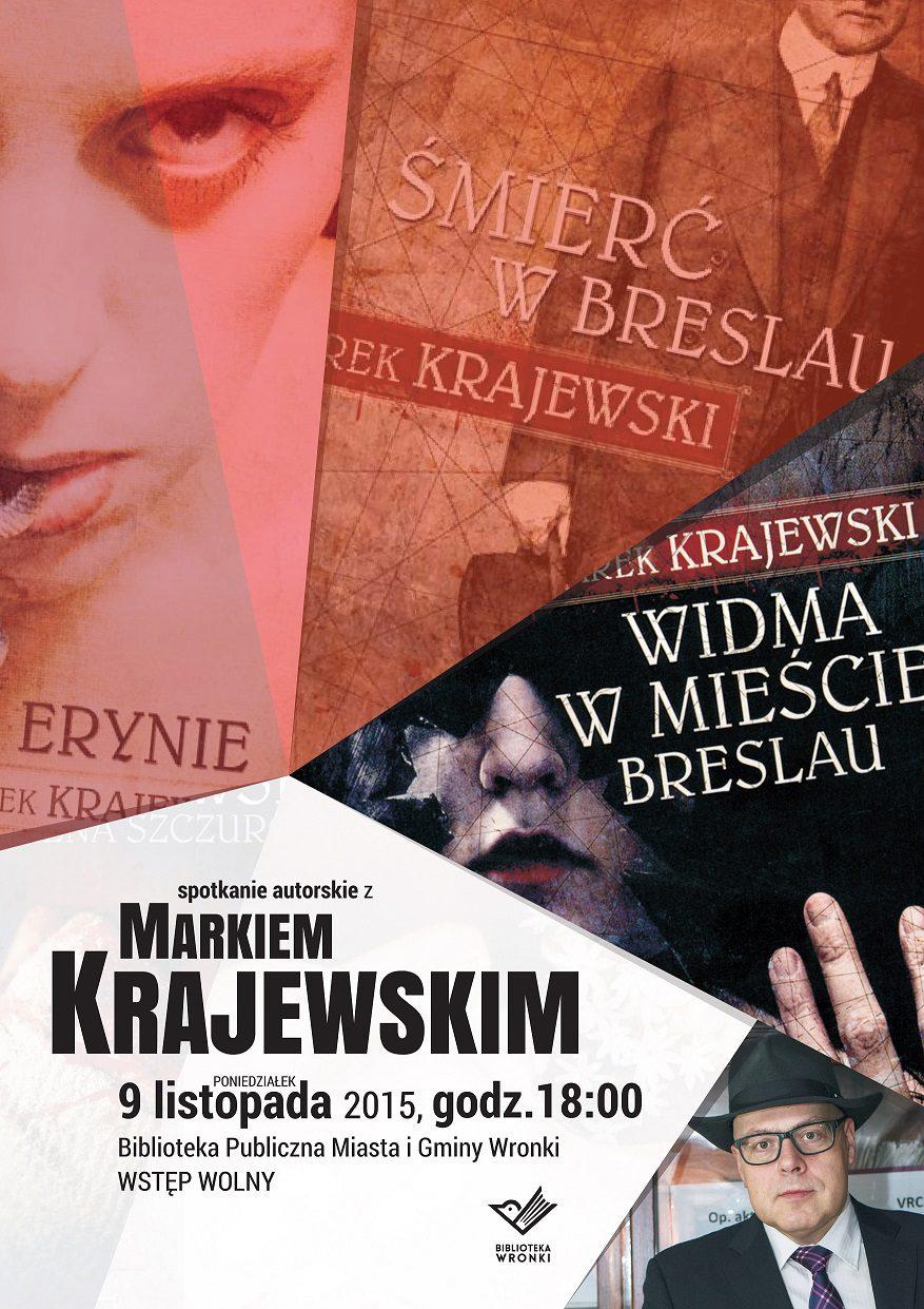 Plakat do spotkania z Markiem Krajewski mW