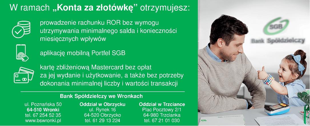 Bank Spółdzielczy we Wronkach - Konto za złotówkę