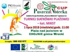 """Lokalna Grupa Działania """"Puszcza Notecka"""" zaprasza w niedzielę 1 lipca do Chojna na turniej siatkówki plażowej."""